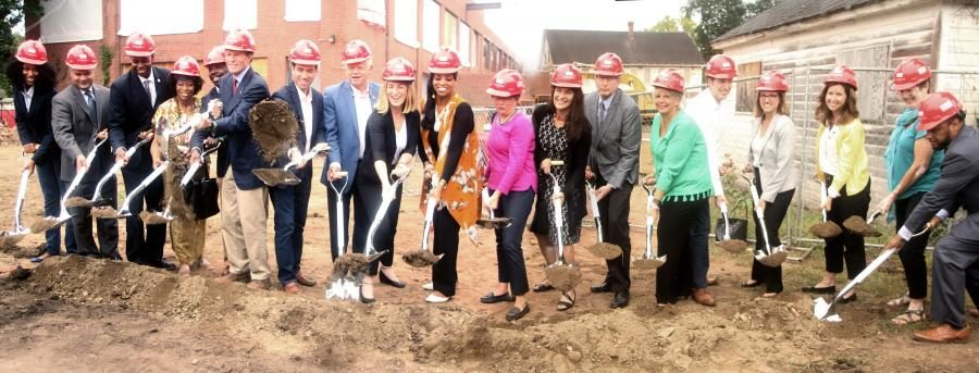 Breaking ground on construction site