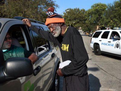 Homeless man asking for help