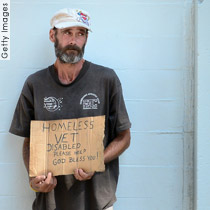Homeless man with homemade sign