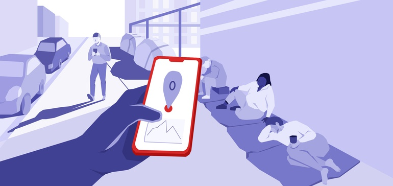 Illustration representing the use of phones to identify homeless people