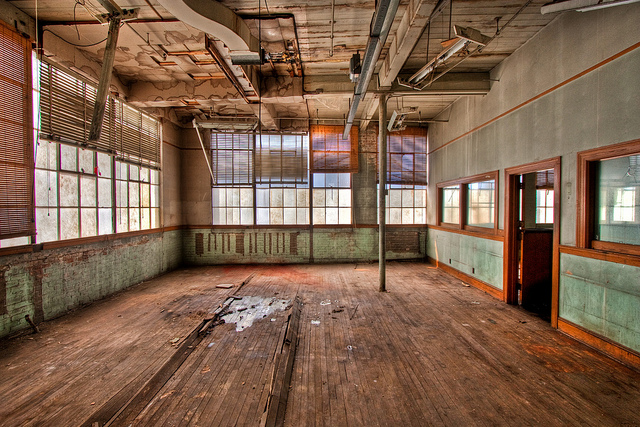 Abandoned interior of building