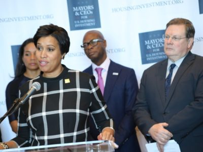 DC Mayor Bowser speaks to listeners