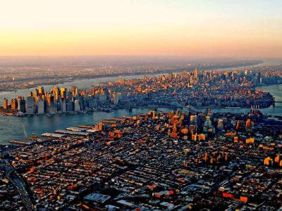 Overhead view of New York City at sunrise