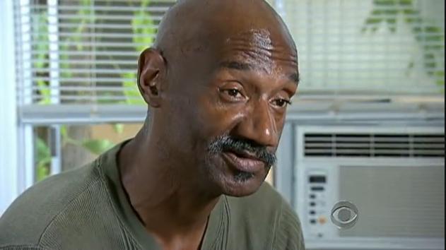 Homeless man being interviewed