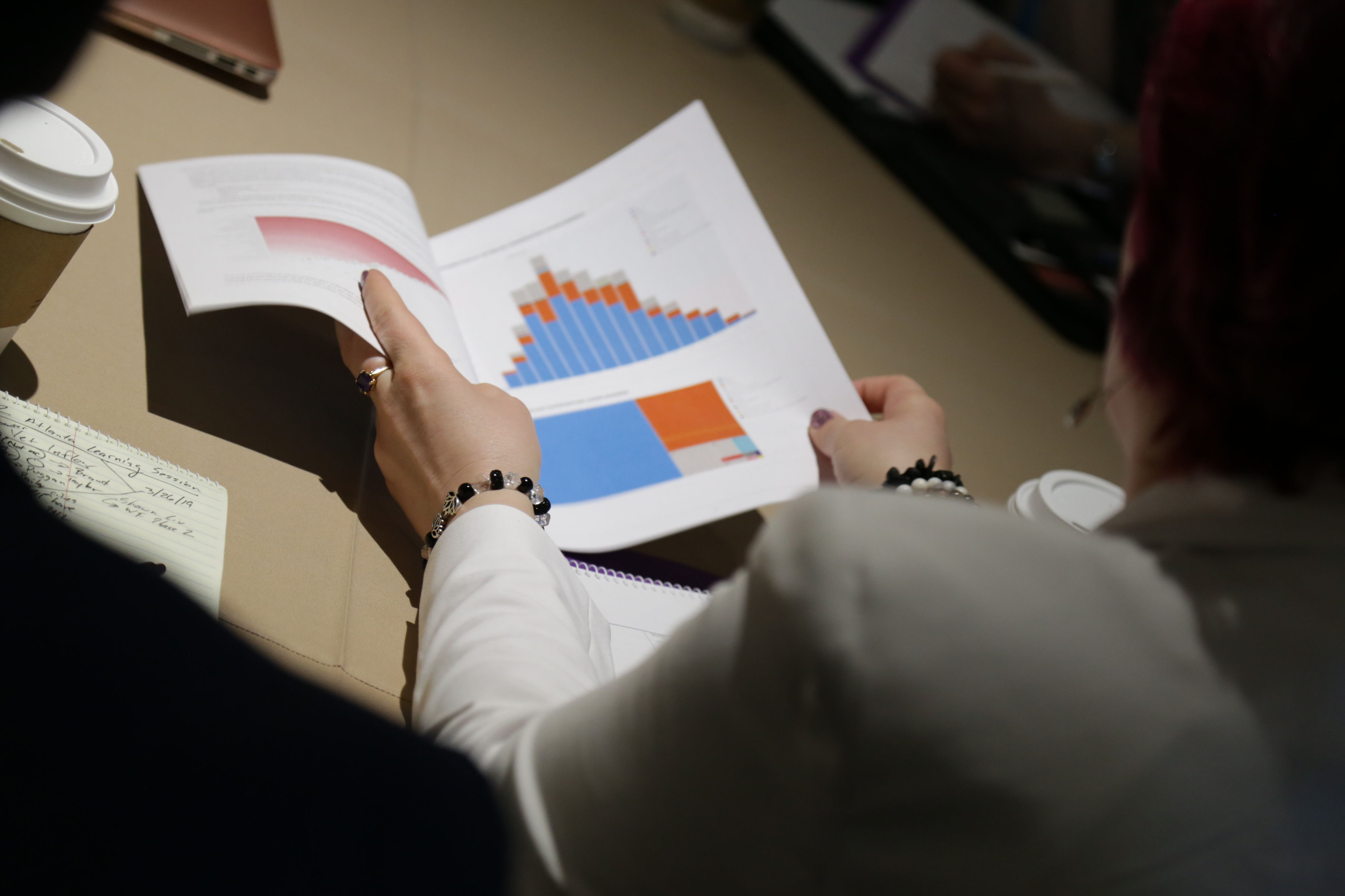 Person reading a report with charts and stats