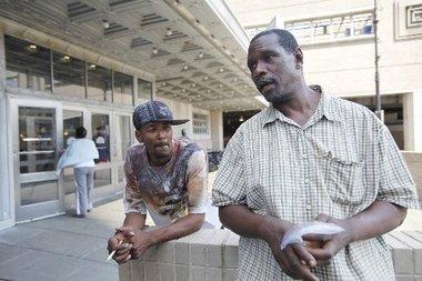 Homeless men in Newark