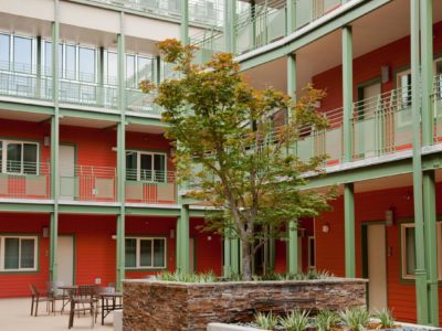 Exterior courtyard of apartment complex