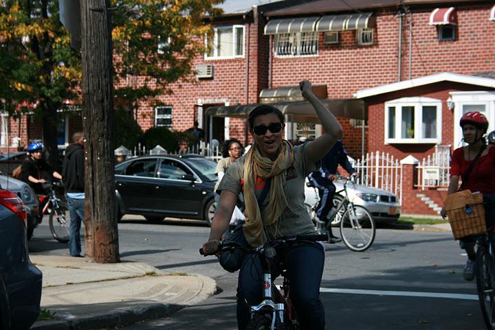 Man riding bike in urban environment