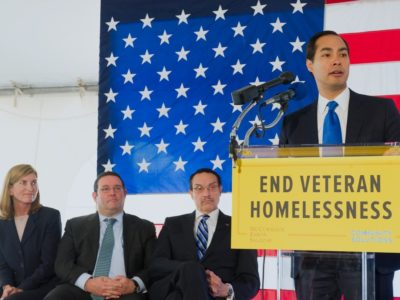 Giving a speech about ending veteran homelessness