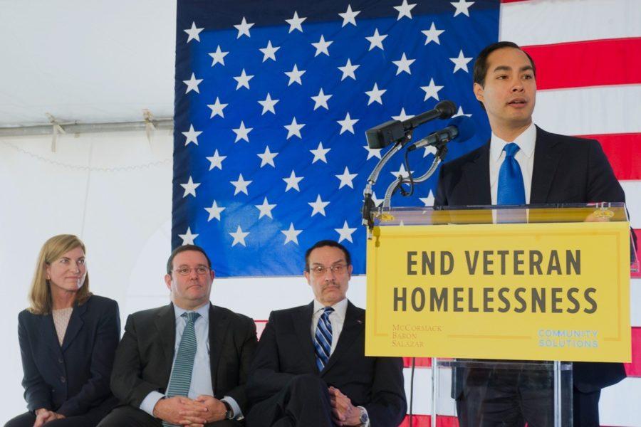 Giving a speech about ending veteran homelessness