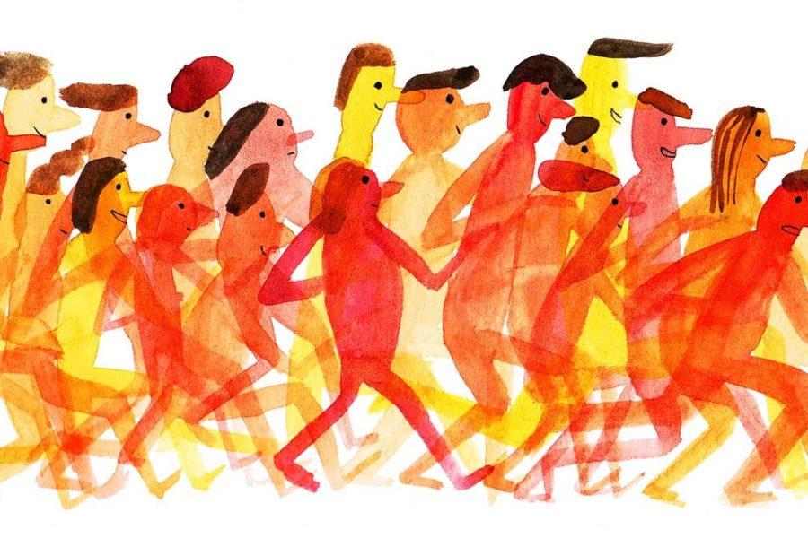 Watercolor image of people walking