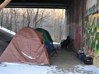 Tents in urban area housing homeless people