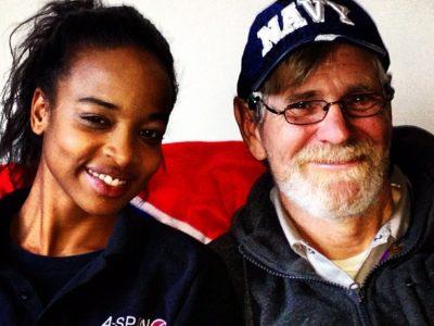 Formerly homeless veteran in new housing