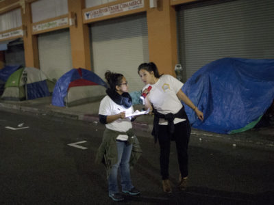 Interviewing homeless people at night