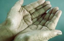 hands begging for money