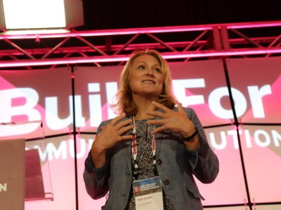 Beth Sandor discussing at Built For Zero conference