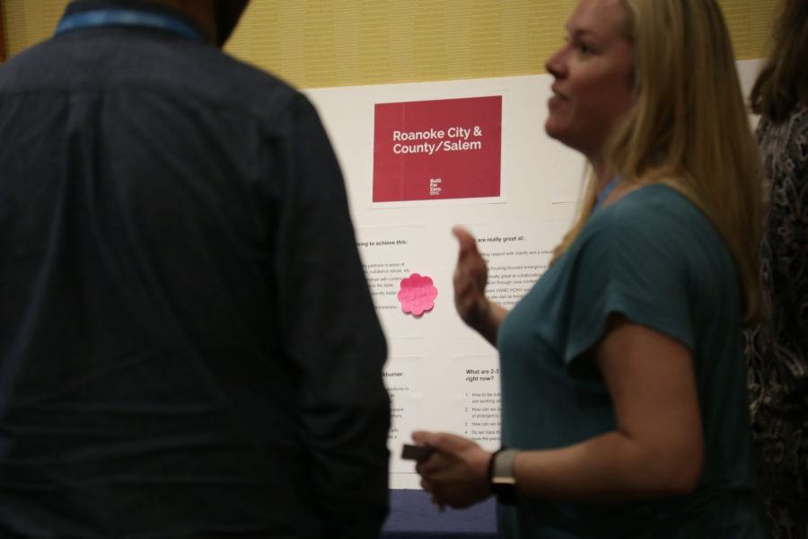 Woman presenting at conference