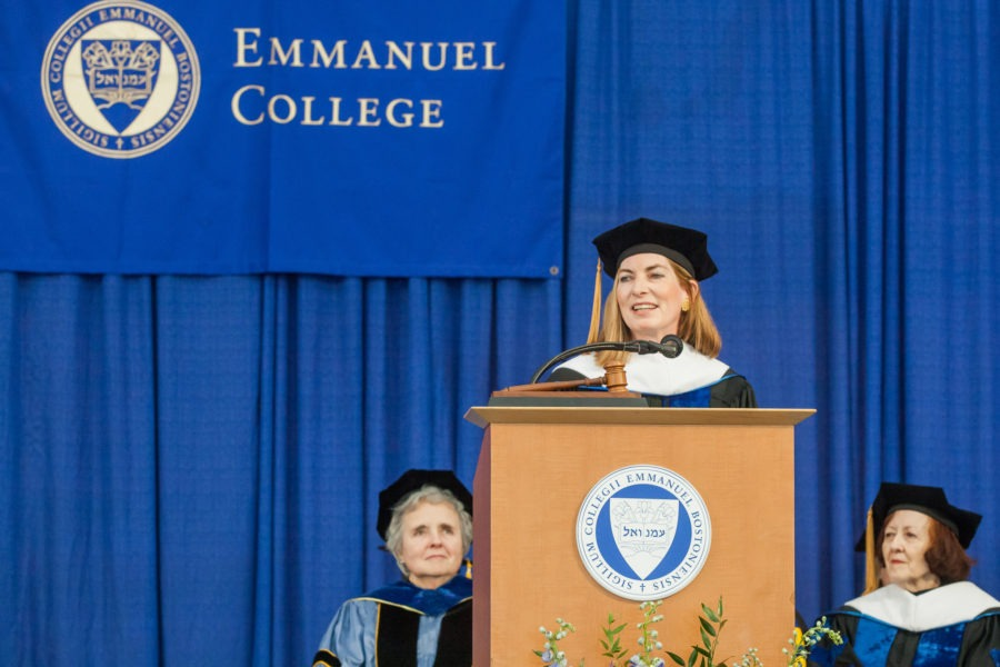 Rosanne Haggerty giving a speech at Emmanuel College