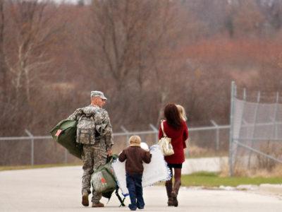 Veteran walking with family