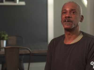 Interviewing formerly homeless man