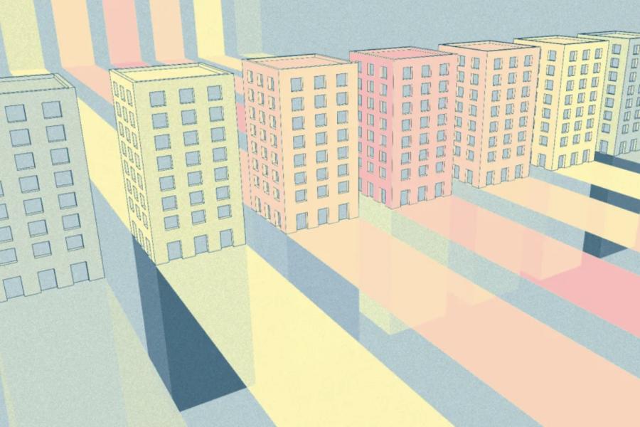 Digital rendering of buildings