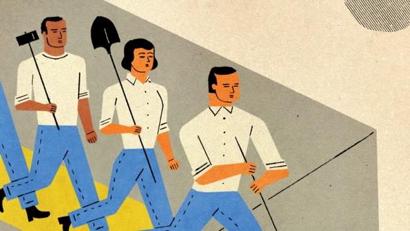 Illustration of marchers