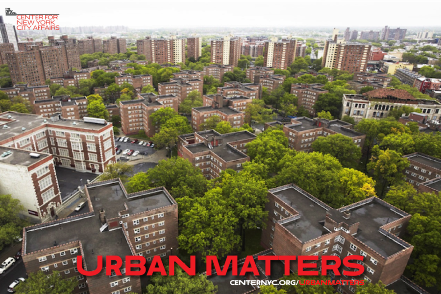Overhead shot of urban area