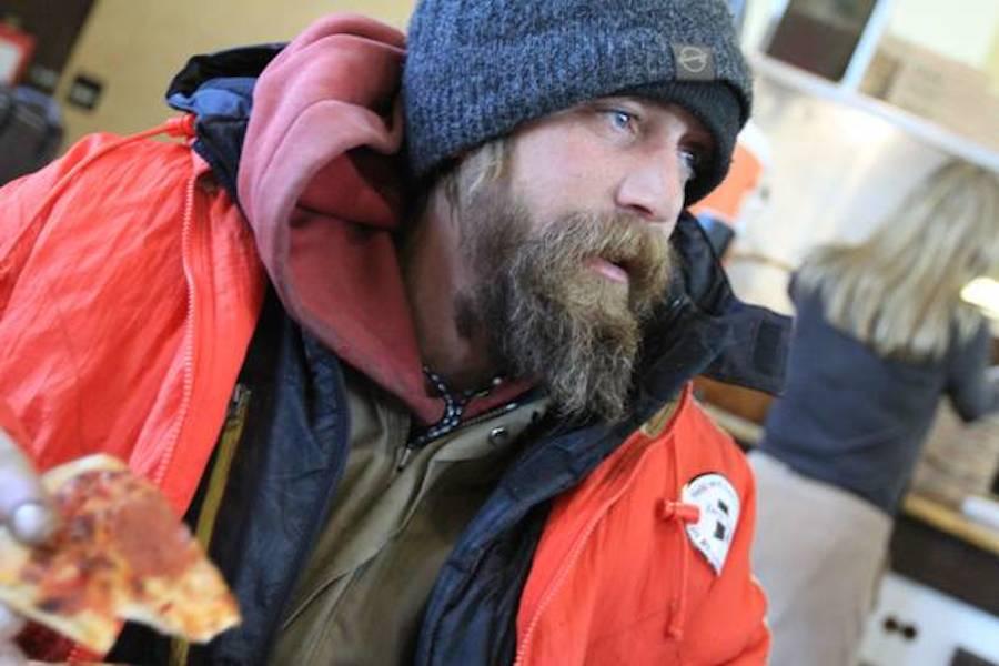 Homeless man outside