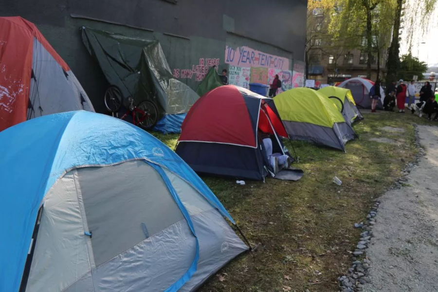 Tents outside in urban area
