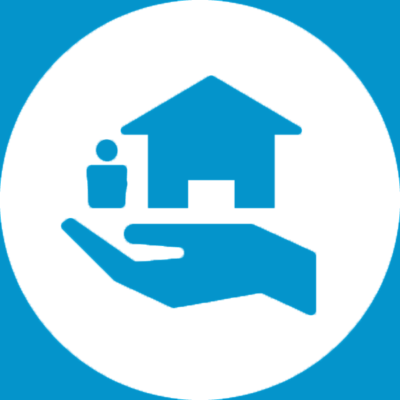 Icon of hand extending housing to a person