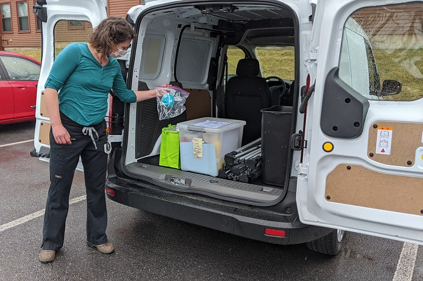 Anna Lisa Reynolds with the mobile testing van in Vermont. Photo courtesy of Courtney Lamdin/Seven Days