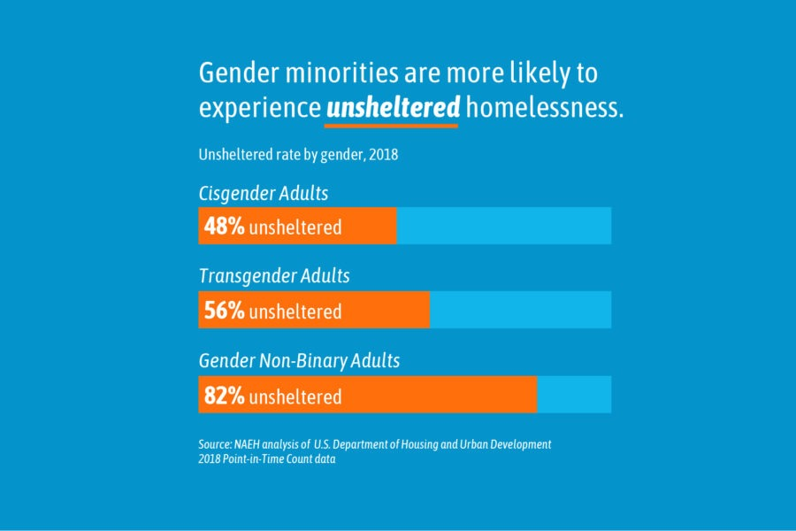 gender minorities are more likely to be homeless