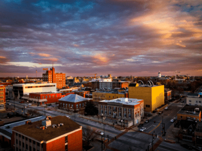 scene of Columbia, MO at dusk