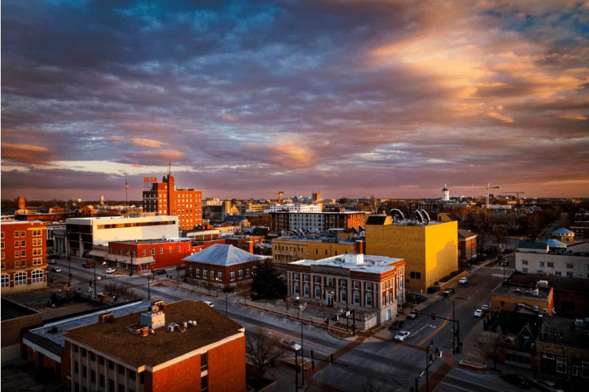 scene of Columbia, MO at dusk