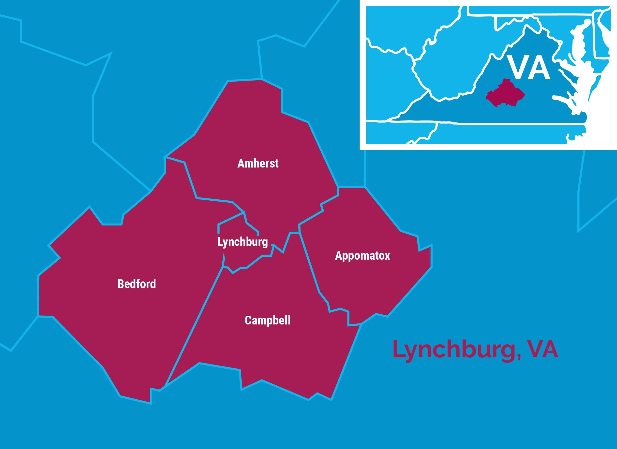 Map of Lynchburg, Virginia area