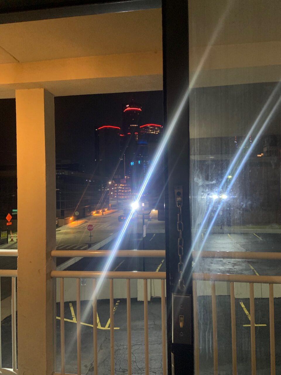 Scene outside of Detroit hotel room