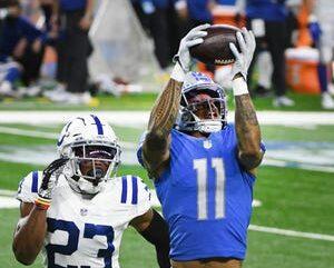 Lions receiver Marvin Jones Jr. pulls down a touchdown earlier this season. Daniel Mears, Detroit News