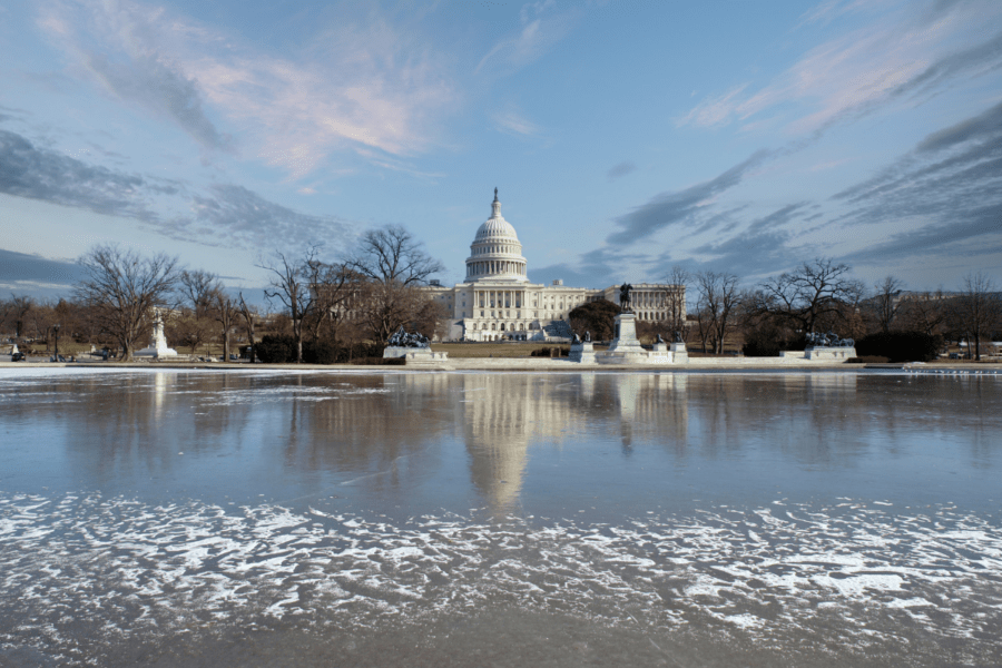 US Capitol in winter