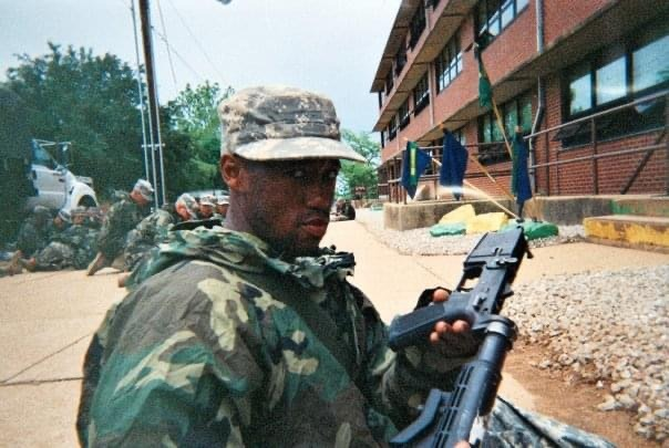 Kyle Jackson in Army fatigues