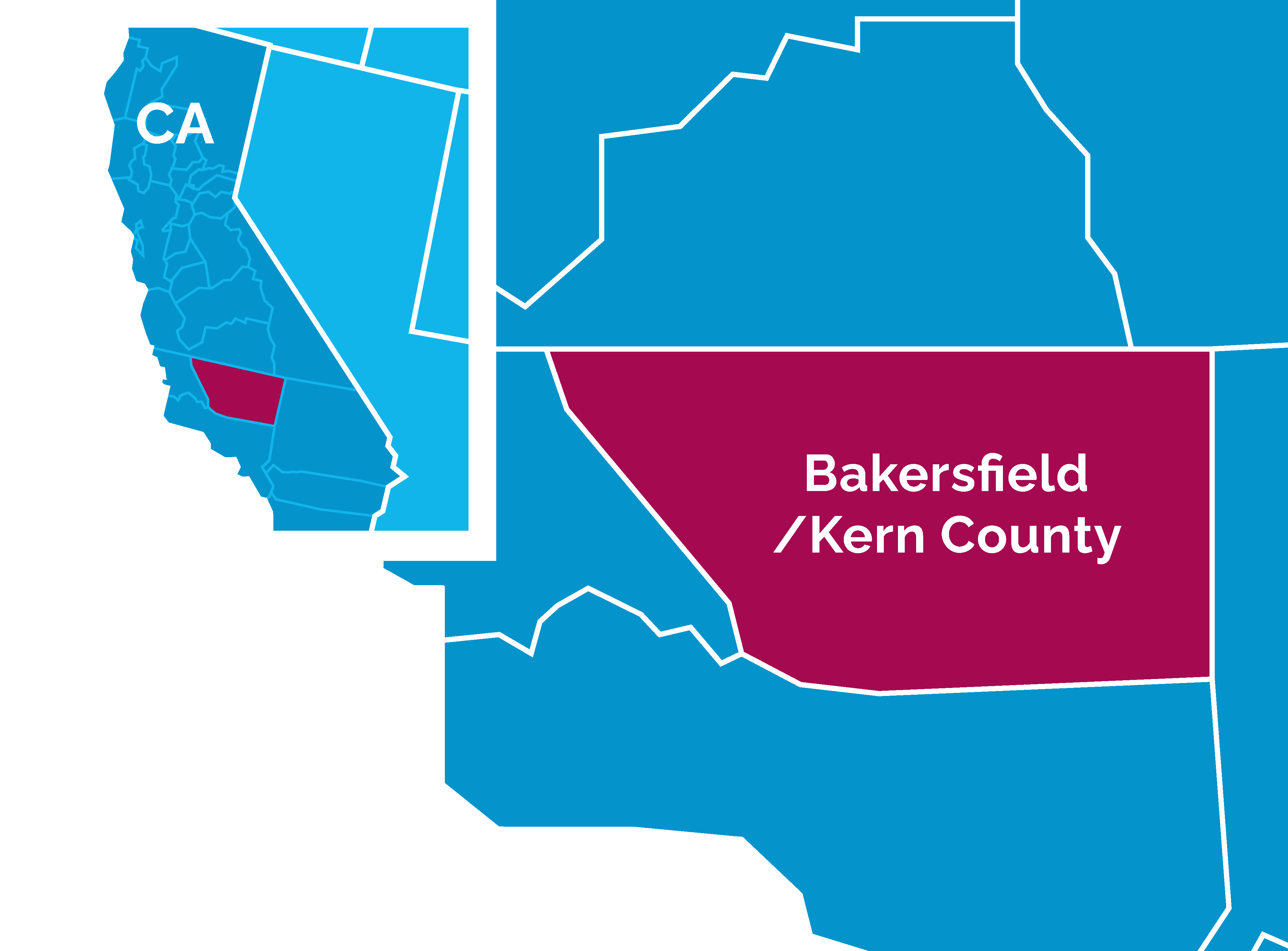 Bakersfield and Kern County Map