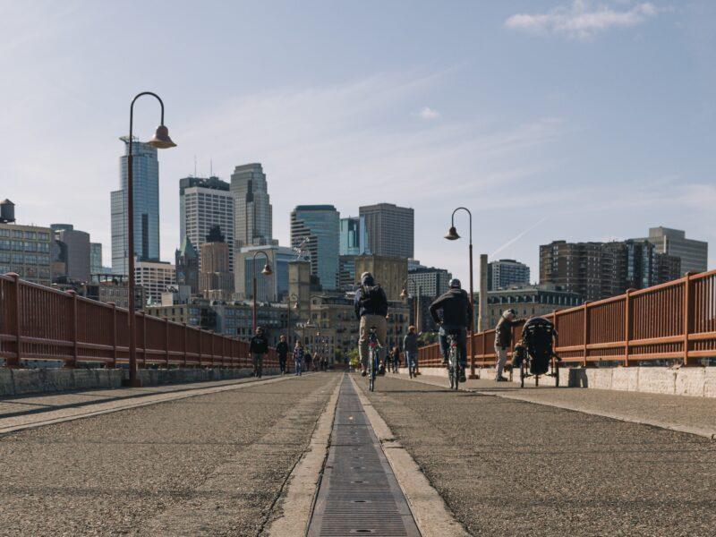 Minneapolis city skyline from bridge