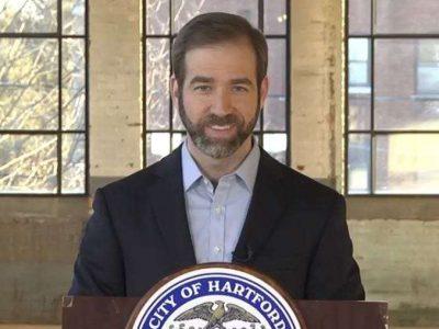 Hartford Mayor Luke Bronin delivers his State of the City address. (Credit: Radio.com)