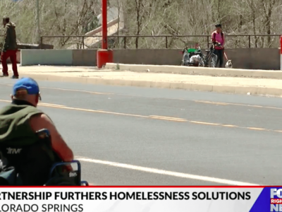Photo of a person experiencing homelessness in Colorado Springs, CO. Credit: Fox21 News