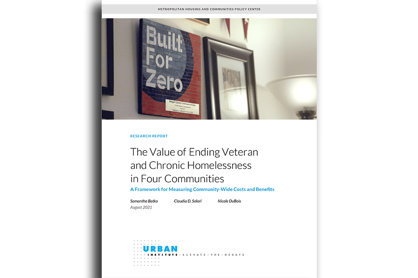 Today, the Urban Institute published research that examines the community-level impacts of ending homelessness for a population.