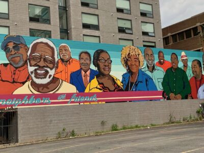 Neighbors and Friends Mural on building